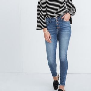 Madewell High Rise Button Fly Skinny Frayed Jeans
